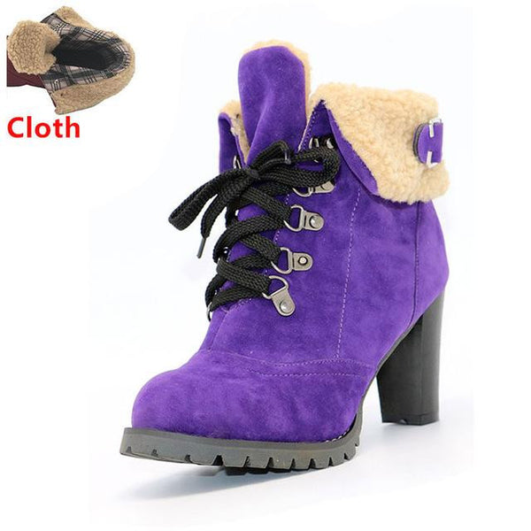 Women's High Heel Snow Boots (Purple w/Cloth) | Kwikibuy Amazon | United States | All | Women | Fashion | Clothing | Boots | Shoes
