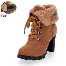 Load image into Gallery viewer, High-Heel-Snow-Boots-Black-with-fur  - Kwikibuy Amazon Global