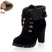 Load image into Gallery viewer, High Heel Snow Boots (Black with fur)  - Kwikibuy Amazon Global