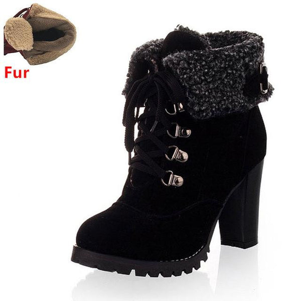 Women's High Heel Snow Boots (Black w/Fur) | Kwikibuy Amazon | United States | All | Women | Fashion | Clothing | Boots | Shoes