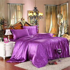 Silk-Satin-Bedding-Quilt-Duvet-Cover-Sets-Orange  - Kwikibuy Amazon Global