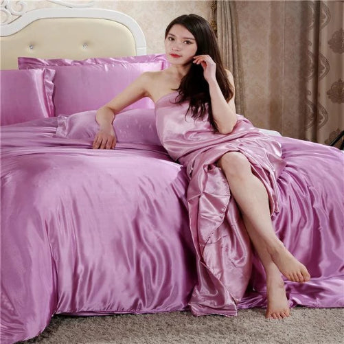 Silk Satin Bedding Quilt Duvet Cover Sets (22 Colors -  3 Sizes)  - Kwikibuy Amazon Global