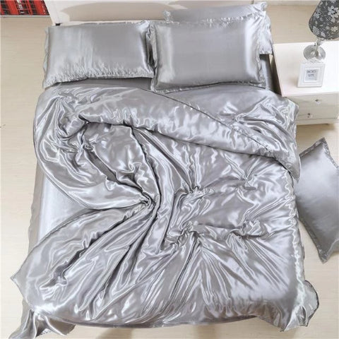 Silk-Satin-Bedding-Quilt-Duvet-Cover-Sets-Silver  - Kwikibuy Amazon Global