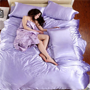 Silk-Satin-Bedding-Quilt-Duvet-Cover-Sets-Lilac  - Kwikibuy Amazon Global