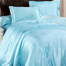 Load image into Gallery viewer, Silk-Satin-Bedding-Quilt-Duvet-Cover-Sets-Baby-Blue  - Kwikibuy Amazon Global