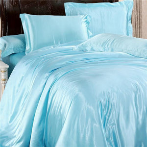 Silk-Satin-Bedding-Quilt-Duvet-Cover-Sets-Sky-Blue  - Kwikibuy Amazon Global