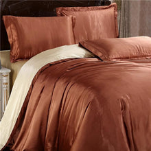 Load image into Gallery viewer, Silk-Satin-Bedding-Quilt-Duvet-Cover-Sets-Orange  - Kwikibuy Amazon Global