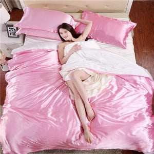 Silk-Satin-Bedding-Quilt-Duvet-Cover-Sets-Burgundy  - Kwikibuy Amazon Global