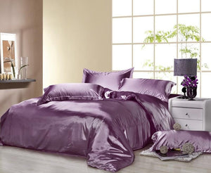 Silk-Satin-Bedding-Quilt-Duvet-Cover-Sets-Purple  - Kwikibuy Amazon Global
