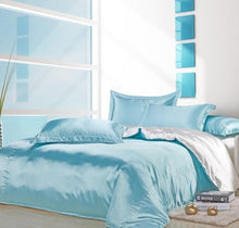 Load image into Gallery viewer, Silk-Satin-Bedding-Quilt-Duvet-Cover-Sets-Sky-Blue  - Kwikibuy Amazon Global