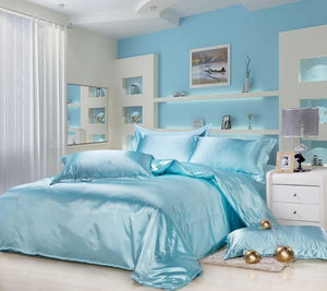 Silk-Satin-Bedding-Quilt-Duvet-Cover-Sets-Baby-Blue  - Kwikibuy Amazon Global