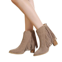 Load image into Gallery viewer, High-Heel-Tassel-Fringe-Ankle-Boots-Black  - Kwikibuy Amazon Global