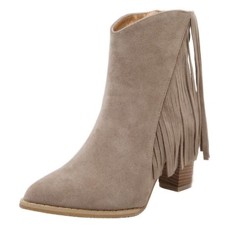 High-Heel-Tassel-Fringe-Ankle-Boots-Khaki  - Kwikibuy Amazon Global