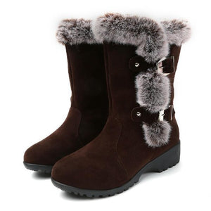 Slip-On-Mid-Calf-Fur-Snow-Boots-Brown  - Kwikibuy Amazon Global