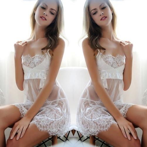 Shop-Now-Floral-Lace-G-string-Baby-Doll-White-Kwikibuy.com