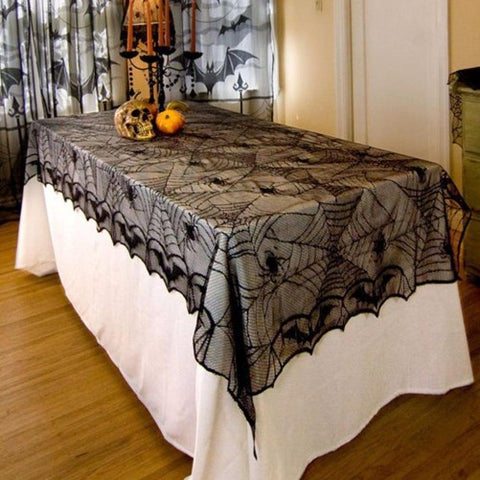 Decorative Black Lace Spider Web Rectangle Table-cover