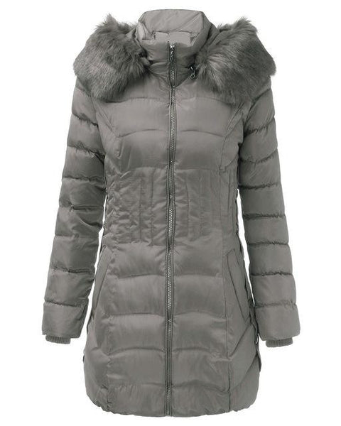 WOMEN'S HOODED DOWN FLEECE COATS (PLUS SIZES AVAILABLE) $39.99 GREY - Kwikibuy.com™® Official Site~Free Shipping