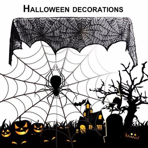 Large Size Special Black Lace Scarf Halloween Party Decoration