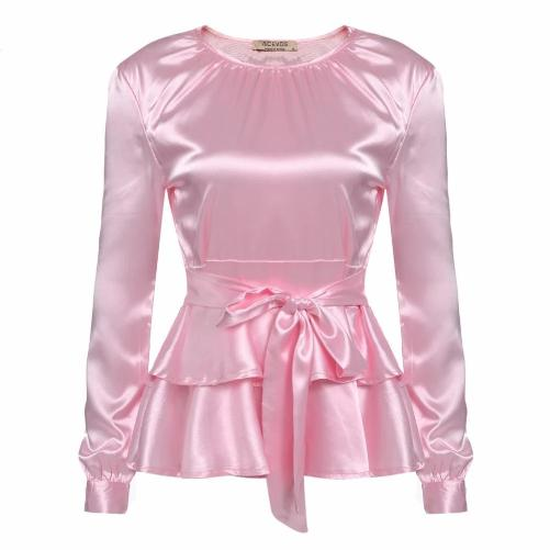Satin-Long-Sleeve-Bow-Blouse-Pink  - Kwikibuy Amazon Global