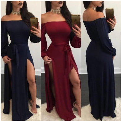 Off The Shoulder Backless High Slit Long Sleeve Backless Maxi Dress (Red)  - Kwikibuy Amazon Global