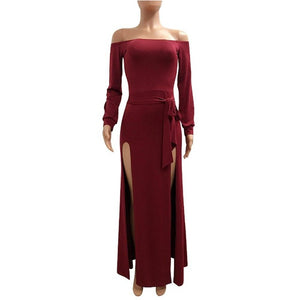 Off-The-Shoulder-Backless-High-Slit-Long-Sleeve-Backless-Maxi-Dress-Red  - Kwikibuy Amazon Global