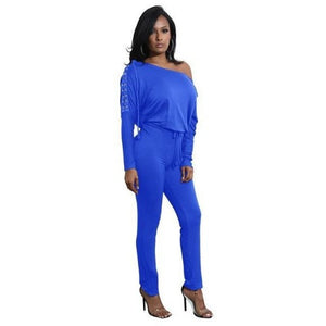 Off-The-Shoulder-Long-Sleeve-Stretch-Rompers-Blue  - Kwikibuy Amazon Global