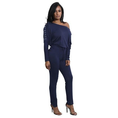 Off The Shoulder Long Sleeve Stretch Rompers (Navy Blue) | Kwikibuy Amazon | United States | All | Women | Outerwear | Fashion | Suit | Autumn | Winter | Spring Summer | Autumn