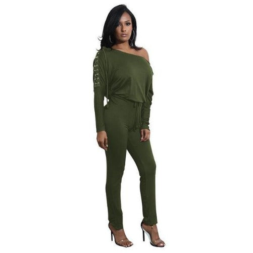 Off The Shoulder Long Sleeve Stretch Rompers (Olive) | Kwikibuy Amazon | United States | All | Women | Outerwear | Fashion | Suit | Autumn | Winter | Spring Summer | Autumn