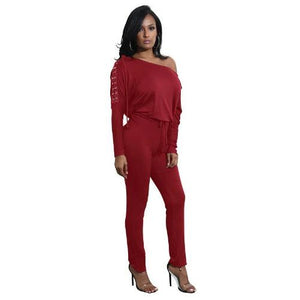 Off-The-Shoulder-Long-Sleeve-Stretch-Rompers-Red  - Kwikibuy Amazon Global