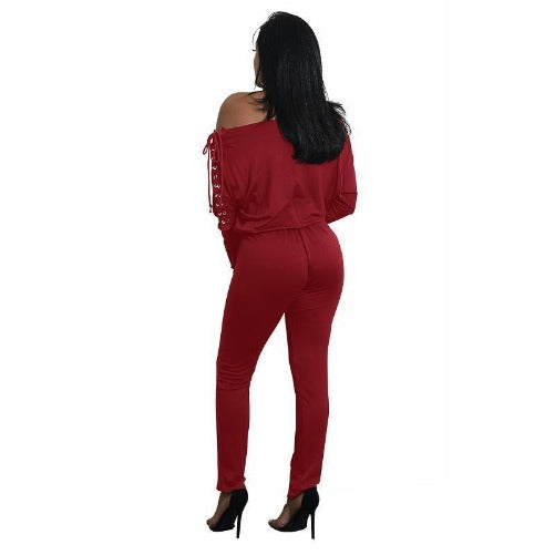 Off The Shoulder Long Sleeve Stretch Rompers (Red) | Kwikibuy Amazon | United States | All | Women | Outerwear | Fashion | Suit | Autumn | Winter | Spring Summer | Autumn
