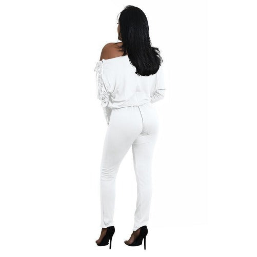 Off The Shoulder Long Sleeve Stretch Rompers (White) | Kwikibuy Amazon | United States | All | Women | Outerwear | Fashion | Suit | Autumn | Winter | Spring Summer | Autumn