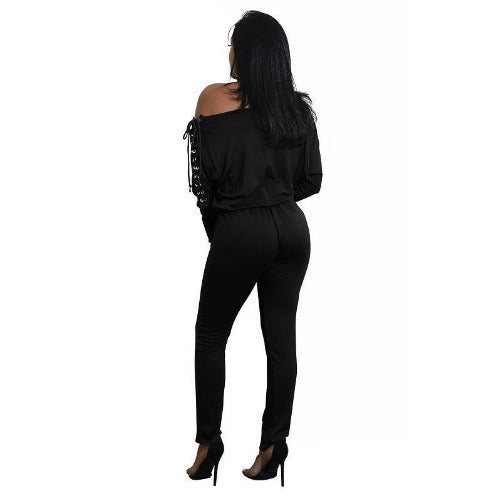 Off The Shoulder Long Sleeve Stretch Rompers (Black) | Kwikibuy Amazon | United States | All | Women | Outerwear | Fashion | Suit | Autumn | Winter | Spring Summer | Autumn