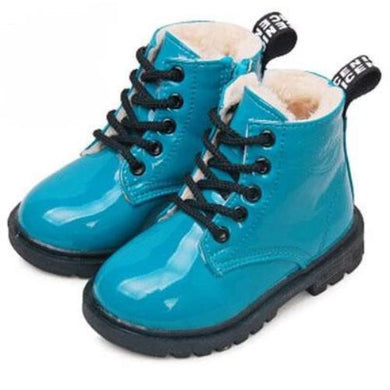 Leather Rain Boots (Blue w/fur)  - Kwikibuy Amazon Global