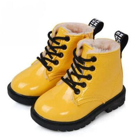 Leather Rain Boots (Yellow w/fur) | Kwikibuy Amazon Global | United States | All | Children | Kids | boots | Leather | Winter | Footwear | shoes | Wool