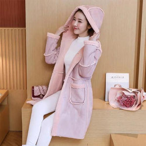 Leather-and-Suede-Lambs-Wool-Hooded-Parka-Pink  - Kwikibuy Amazon Global
