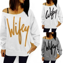 Load image into Gallery viewer, Wifey-Cotton-Pullover-Blouse-Gold-on-White  - Kwikibuy Amazon Global
