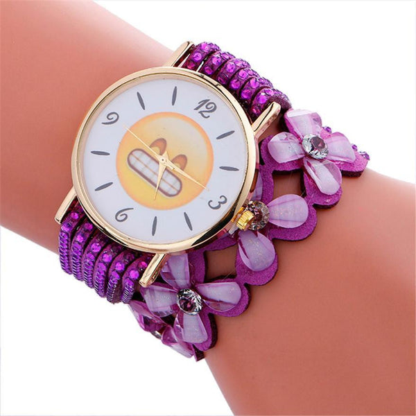Cute Emoji Crystal Leather Watch (10 Colors & Emojis)  - Kwikibuy Amazon Global