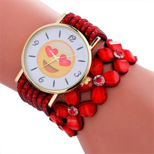 Cute Emoji Crystal Leather Watch (White Winking Face With Tongue)  - Kwikibuy Amazon Global