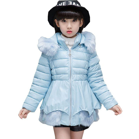 Girl's Fashionable Down Winter Jacket (Light Blue)  - Kwikibuy Amazon Global