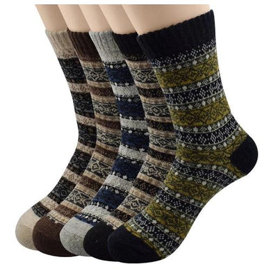 5 Pack Super Thick Stripe Mid Calf Winter Crew Socks  - Kwikibuy Amazon Global