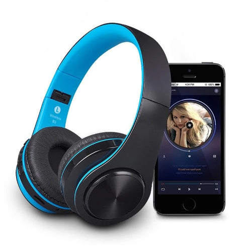 Soft Earmuff Wireless Bluetooth Stereo Headset Black Blue  - Kwikibuy Amazon Global
