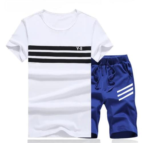 Striped Short Set (White Blue) - Kwikibuy Amazon