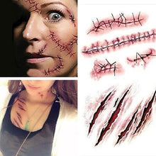Load image into Gallery viewer, 🎃 Scary Zombie Scar Wounds Tattoos Stickers  - Kwikibuy Amazon Global Online S Hopping Mall Function: Body Art Sticker Size: 4.1 x 2.3 inches/105 * 60 mm