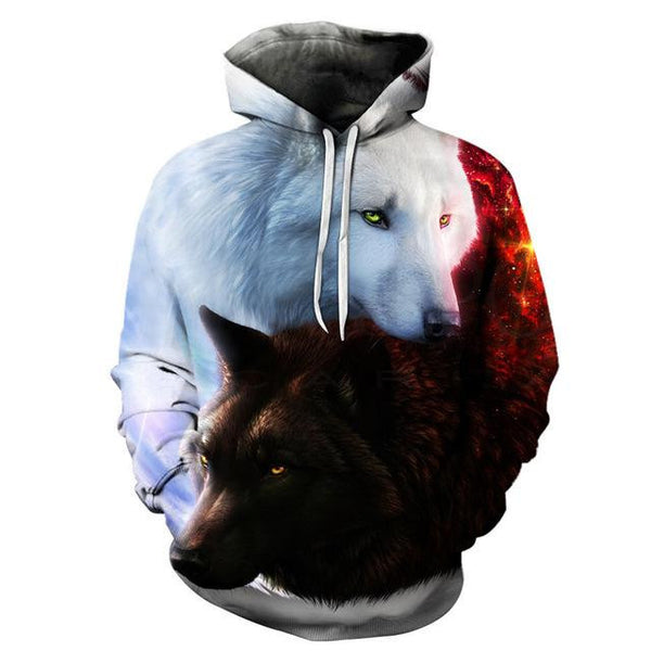 3D Galaxy Print Pullover Hoodies (Pet Wolf) | Kwikibuy Amazon Global | All | Men | Women | Jacket | Outerwear