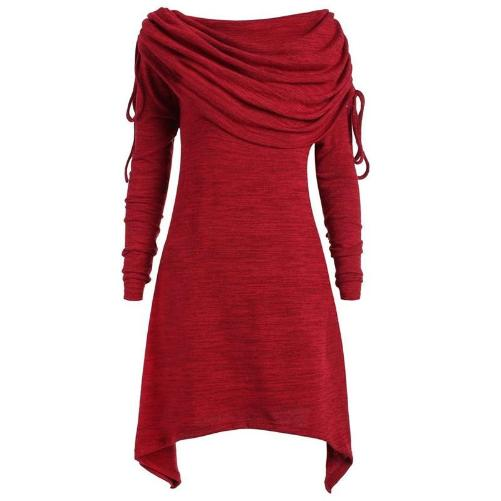 Tunic Fold-over Collar Top (Red) | Kwikibuy Amazon Global | United States | All | Women | Tunic | Casual | Blouse | long-sleeve