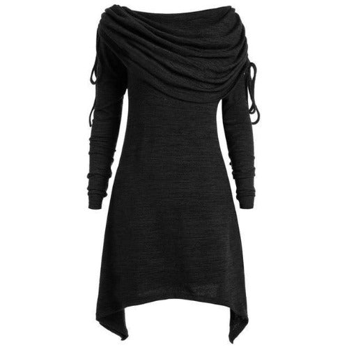 Tunic Fold-over Collar Top (Black) | Kwikibuy Amazon Global | United States | All | Women | Tunic | Casual | Blouse | long-sleeve