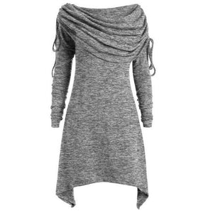 Tunic-Fold-over-Collar-Top-Grey  - Kwikibuy Amazon Global