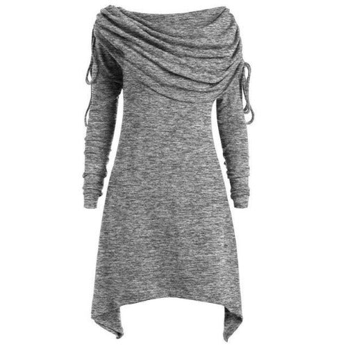 Tunic Fold-over Collar Top (Grey) | Kwikibuy Amazon Global | United States | All | Women | Tunic | Casual | Blouse | long-sleeve