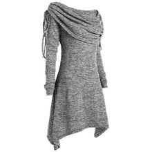 Load image into Gallery viewer, Tunic-Fold-over-Collar-Top-Grey  - Kwikibuy Amazon Global
