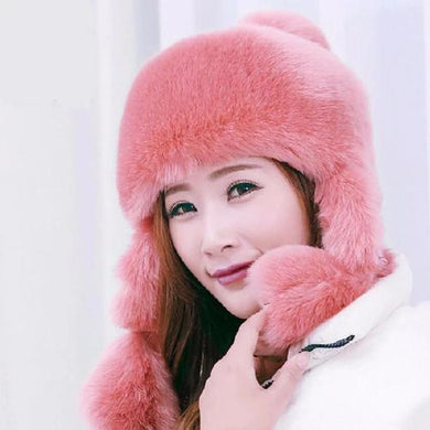 Rabbit Fur Bomber Hat with Ears  - Kwikibuy Amazon Global